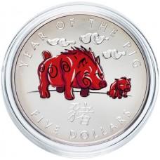 """Соломоновы острова 5 долларов 2007 """"Китайский гороскоп - Год свиньи"""""""